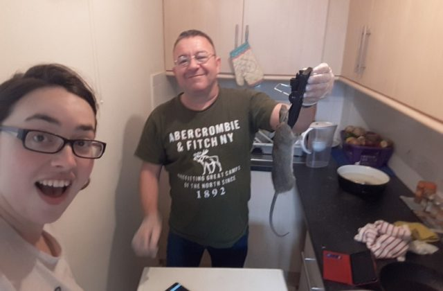 Paul with another rat - in the kitchen