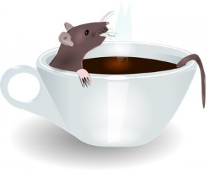 A rat relaxing in a cup of coffee